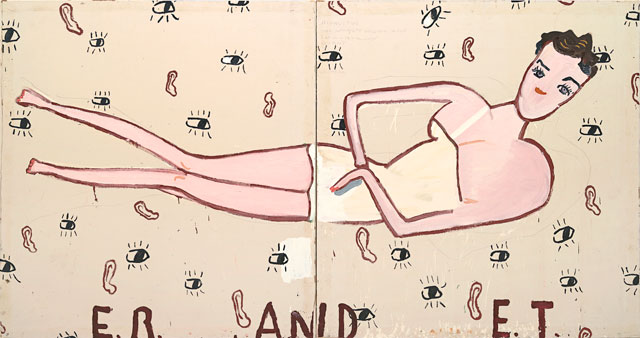 Rose Wylie, ER & ET, 2011. Oil on canvas, 182 × 344 cm. Courtesy of Morten Viskum Collection.