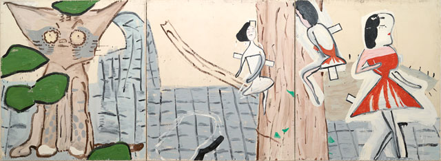 Rose Wylie, Red Twink and Ivy, 2002. Oil on canvas, 183 × 504 cm. Courtesy of the artist.