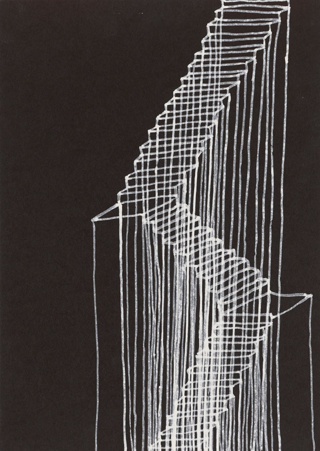 Rachel Whiteread. Stairs, 1995. Correction fluid on black paper, 66.2 x 51.3 x 38 cm. Courtesy the artist and Gagosian. © Rachel Whiteread.