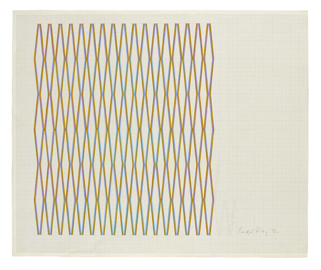 Bridget Riley. Towards 'Little Diamond', 1972. Gouache on paper, 71 x 84.7 cm. Courtesy Austin Desmond, London - Breese Little.