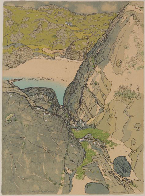 Frances Walker. Achmelvich shore, 1980. Screenprint, 78 x 57 cm. Courtesy of Tatha Gallery, Newport on Tay. Copyright Frances Walker.