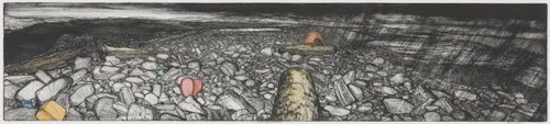 Frances Walker. Storm Beach Boreray, 2001. Etching plus ink on plate and watercolour tint, 23 x 103 cm. Courtesy of Tatha Gallery, Newport on Tay. Copyright Frances Walker.