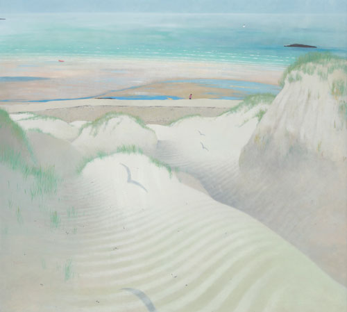 Frances Walker. Summer Day in the Dunes (tiree), 1994. Oil on canvas, 178 x 193 cm. Courtesy of Tatha Gallery, Newport on Tay. Copyright Frances Walker.
