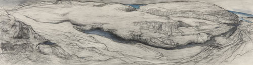 Frances Walker. The Dun Burn, 1994. Drawing pencil and watercolour, 37.5 x 145 cm. Courtesy of Tatha Gallery, Newport on Tay. Copyright Frances Walker.