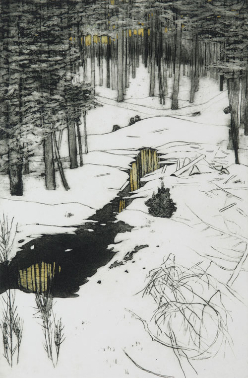 Frances Walker. Winter in Achnasoul Wood, 2007. Collograph and watercolour, 73.5 x 48 cm. Courtesy of Tatha Gallery, Newport on Tay. Copyright Frances Walker.