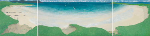 Frances Walker. <em>Surfers Shore,</em> 1989. Triptych, oil on board, 122 cm x 488 cm. From the artist's collection. Photograph: Mike Davidson, Positive Image.