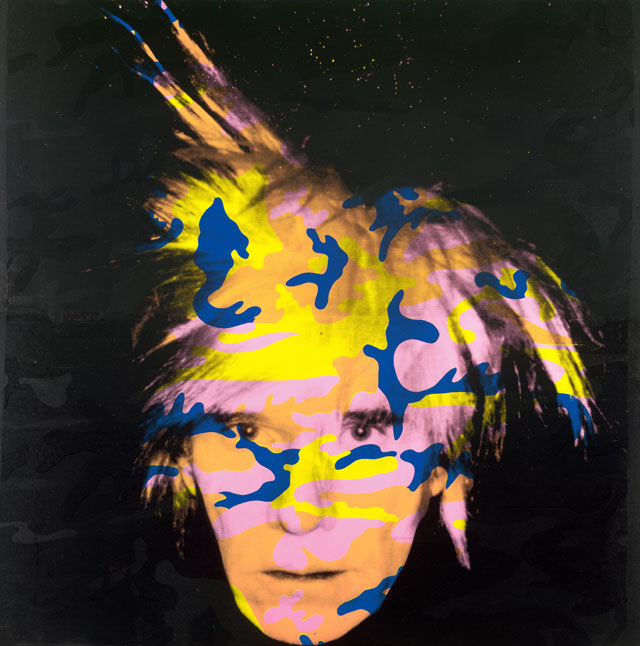 Andy Warhol. Self-portrait no. 9, 1986 (recto). Synthetic polymer paint and screenprint on canvas, 203.5 x 203.7 cm. National Gallery of Victoria, Melbourne. © Andy Warhol/ARS, New York. Licensed by VISCOPY, Sydney.