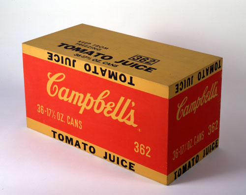 Andy Warhol. Campbell's Tomato Juice Box, 1964. Synthetic polymer paint and silkscreen ink on wood, 10 x 19 x 9 1/2