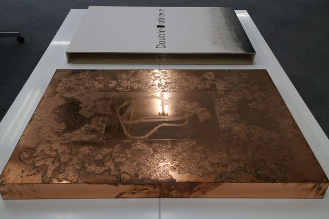 Sotaro Ide (copper, foreground) and Hisashi Kurachi book covers, installation view.