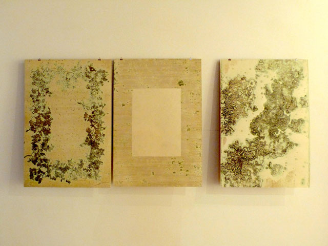 Sotaro Ide book pages, installation view. Copper-plate etching, each page 90 x 60 cm.