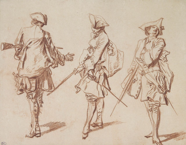 Jean-Antoine Watteau. Three Views of a Soldier, One from Behind, c1713–15. Red chalk, with black ink framing 6 ¾ × 8 5/8 in. Musée du Louvre, Paris. Photograph: © RMN-Grand Palais / Art Resource, NY.