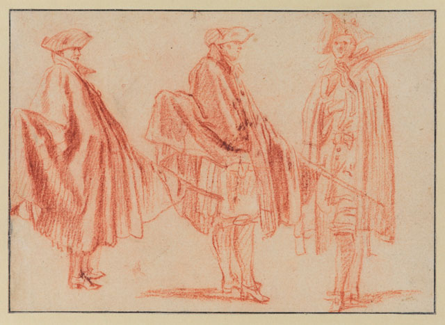Jean-Antoine Watteau. Three Studies of Soldiers Holding Muskets and Wearing Capes, c1710. Red chalk and stump on cream paper, 5 ¾ × 8 in. The Courtauld Institute Galleries, London. Photograph: The Samuel Courtauld Trust, The Courtauld Gallery, London.