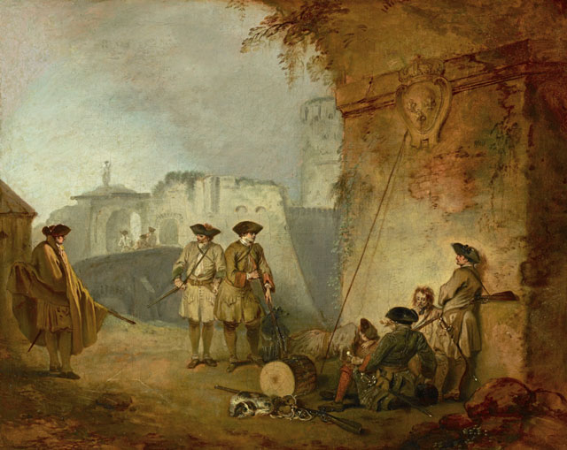 Jean-Antoine Watteau. The Portal of Valenciennes, c1710–11. Oil on canvas, 12 3/4 x 16 in. The Frick Collection. Photograph: Michael Bodycomb.