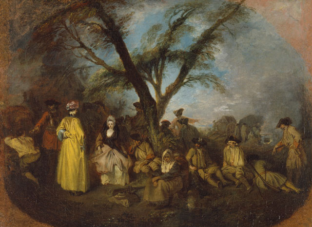 Jean-Antoine Watteau. The Halt, c1710. Oil on canvas, 12 5/8 x 16 ¾ in. Museo Thyssen-Bornemisza, Madrid. Photograph: Museo Thyssen-Bornemisza, Madrid.