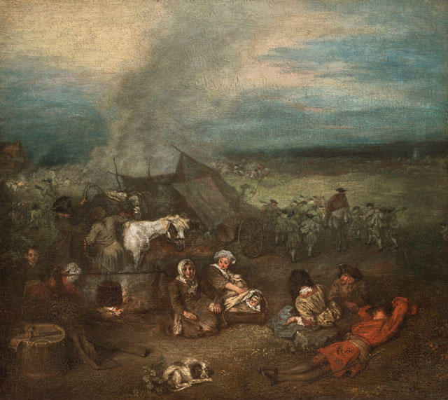 Jean-Antoine Watteau. The Supply Train, c1715. Oil on panel, 11 1/8 x 12 3/8 in. Collection Lionel and Ariane Sauvage.