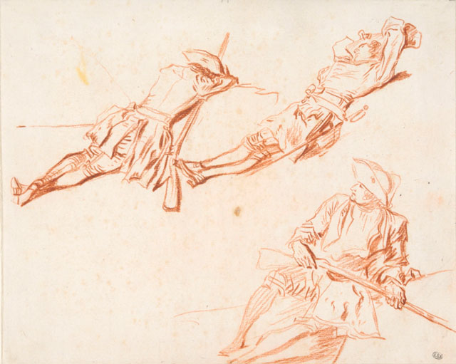 Jean-Antoine Watteau. Three Studies of Resting Soldiers (recto), c1713–14. Red chalk 6 7/8 × 8 ½ in. École nationale supérieure des Beaux-Arts, Paris (1608). Photograph: © Beaux-Arts de Paris, Dist. RMN-Grand Palais / Art Resource, NY.