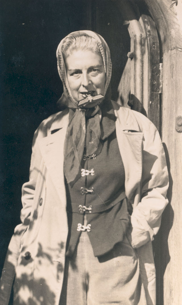 Self-portrait (with Nazi badge between her teeth) by Claude Cahun, 1945. Jersey Heritage Collection. Copyright: Jersey Heritage.