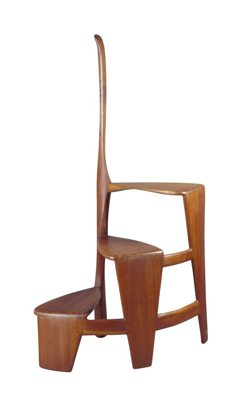 Wharton Esherick. Library Ladder, 1966. Cherry, mahogany; joined, dovetailed, tenoned. Purchased by the American Craft Council, 1968. Photograph: George Erml