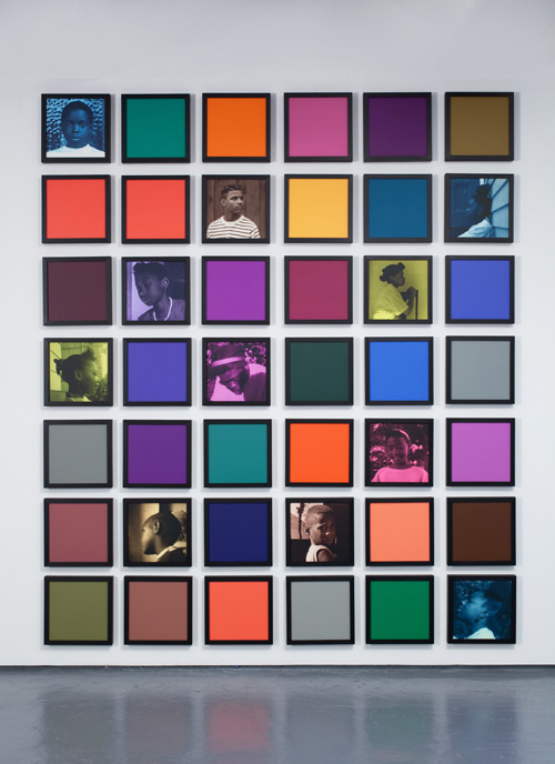 Carrie Mae Weems. Untitled (Colored People Grid), 2009–10. 11 inkjet prints and 31 coloured clay papers, dimensions variable overall; individual components: 10 x 10 inches (25.4 x 25.4 cm) each. Collection of Rodney M. Miller. © Carrie Mae Weems.