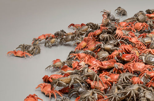 Ai Weiwei. He Xie, 2010 (detail). 3,200 porcelain crabs, dimensions variable. Installation at the Hirshhorn Museum and Sculpture Garden, Washington, D.C., 2012. Courtesy of Ai Weiwei Studio. Photograph: Cathy Carver.