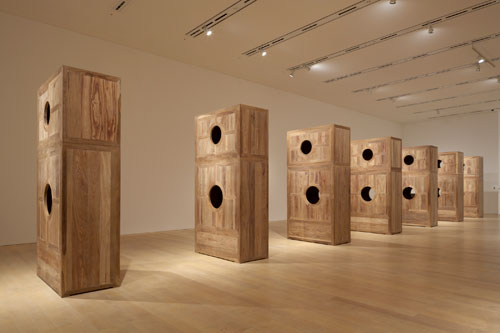Ai Weiwei. Moon Chest, 2008. Seven chests in Huanghuali wood, each: 126 x 63 x 31 1/2 in (320 x 160 x 80 cm). Courtesy of Ai Weiwei Studio. © Ai Weiwei.