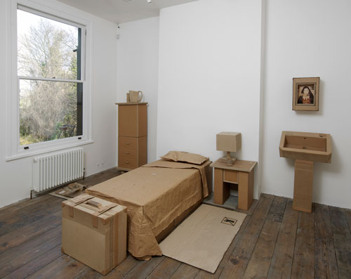 WAMI (Yaseen Wami, Hashim Taeeh). Untitled, 2013. Cardboard and mixed media, dimensions variable. Installation view at the South London Gallery, 2014. Photograph: Andy Keate. Courtesy of the artist and RUYA Foundation.