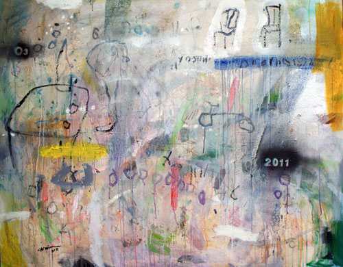 Kadhim Nwir. Untitled, 2011. Acrylic and mixed media on canvas, 120 x 150 cm. Courtesy of the artist and RUYA Foundation.