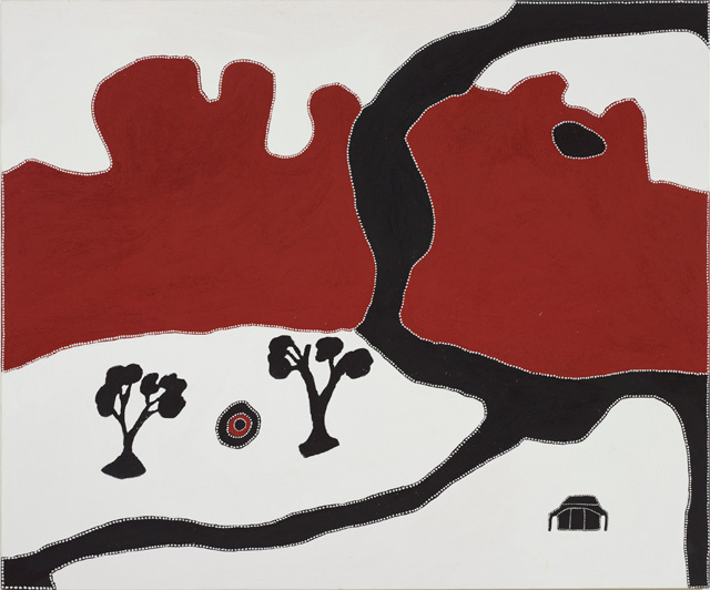 Rusty Peters. Chinaman's Garden massacre, 2000. AGNSW, Purchased with funds provided by the JS Watkins Memorial Fund 2001. © Rusty Peters. Warmun Art Centre. Licensed by Viscopy, Sydney.
