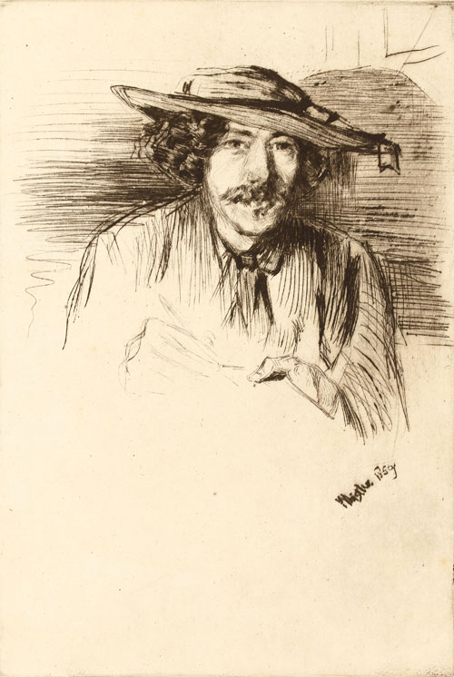 James Abbott McNeill Whistler. Whistler with a hat, 1859. Etching, 283 x 200 mm. The British Museum, London.