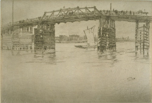 James Abbott McNeill Whistler. Old Battersea Bridge, 1878-9. Etching and drypoint, 202 x 293 mm. University of Michigan Museum of Art.