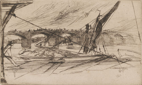 James Abbott McNeill Whistler. Vauxhall Bridge, 1861. Etching and drypoint, 217 x 278 mm. Victoria and Albert Museum, London.