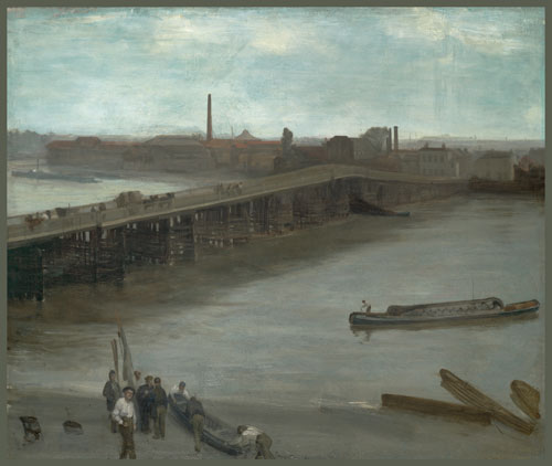 James Abbott McNeill Whistler. Brown and Silver: Old Battersea Bridge, 1859‐63. Oil on canvas mounted on masonite, 63.82 x 76.04. Addison Gallery of American Art, Andover.