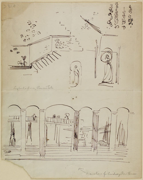 James Abbott McNeill Whistler. Designs for wall decorations r: Designs for 2 Lindsey Row r. & v.: Whistler's House, 2 Lindsey Row, 1877‐8. Pen and ink, 225 x 180 mm. The Hunterian, University of Glasgow.