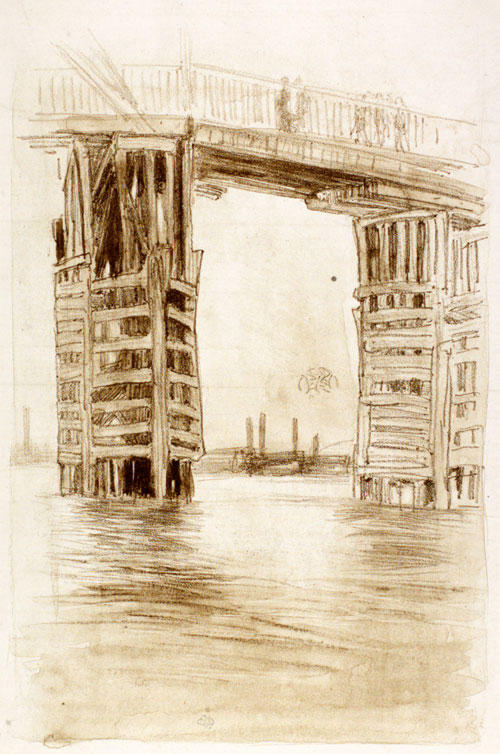 James Abbott McNeill Whistler. The Tall Bridge, 1878. Lithotint, 343 x 244 mm. The Hunterian, University of Glasgow.