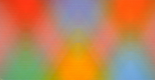 David Whitaker. Pyramids of Light, 2002/2003. Oil on canvas, 305 x 125 cm. © David Whitaker. Courtesy Rebecca Hossack Gallery.