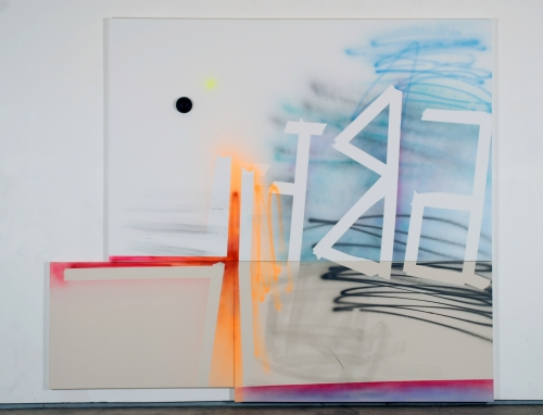 Wendy White. Abet, 2009. Acrylic on three canvases, foam ball. 95 x 109 3/4 inches