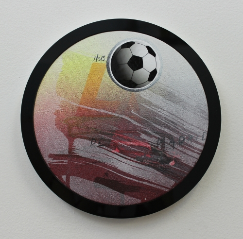 Wendy White. La Luna, 2014. Acrylic on canvas, plexiglas and PVC frame, sticker, 9 in diameter.