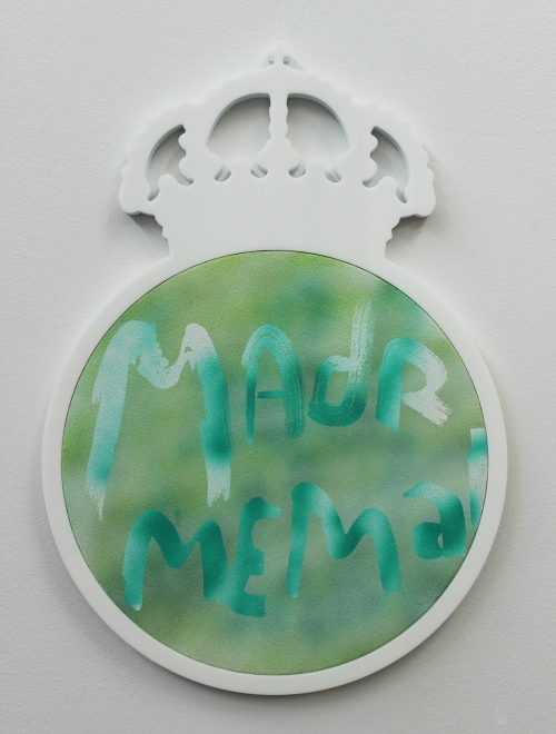 Wendy White. Madrid Me Mata, 2014. Acrylic on canvas, plexiglas and PVC frame, 18.25 x 13 in (46.4 x 33 cm).