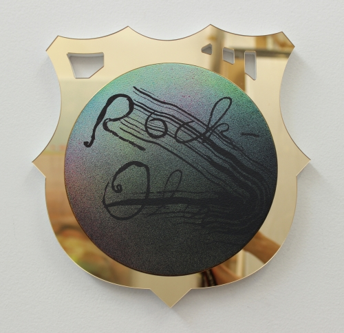 Wendy White. Rock-Ola, 2014. Acrylic on canvas, gold mirrored PVC frame, 10.5 x 10.5 in (26.7 x 26.7 cm).