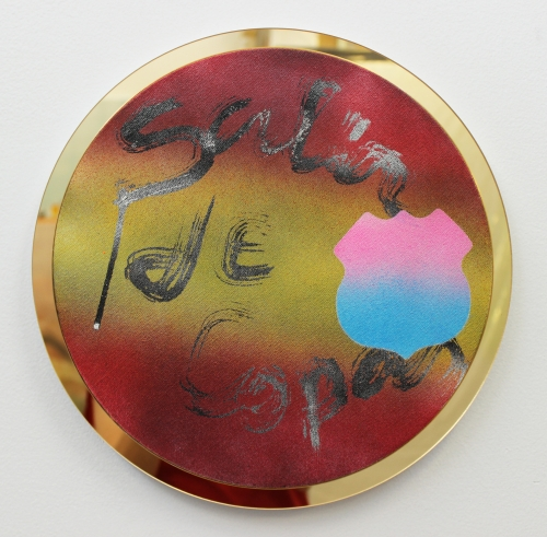 Wendy White. Salir de Copas, 2014. Acrylic on canvas, gold mirrored PVC frame, 13 in diameter.
