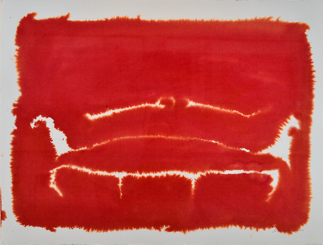 Kate Whiteford. Apres Chippendale 3, 2000, (Rose velvet sofa, 1775). Liquid watercolour on parchment paper.