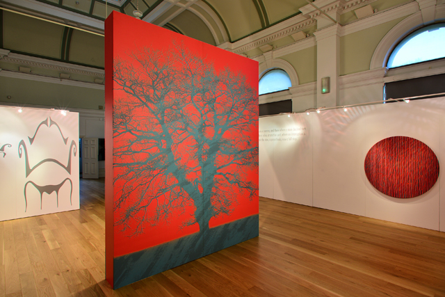 Kate Whiteford. Installation view, left to right: Anamorphic drawings for Sitelines (After Chippendale) 2000, laser cut vinyl; Tree Optic, 2016, print on vinyl on panel; Punctuation Quotation, Capability Brown; Punctuation Series, (After Capability Brown) Full stop, 2016, acrylic on canvas over panel.
