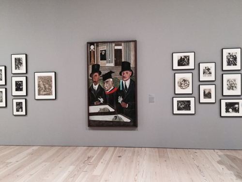 Installation view. Including Ben Shahn's The Passion of Sacco and Vanzetti, 1931-32. Tempera and gouache on canvas mounted on composition board. 84 × 48 in (213.4 × 121.9 cm). Whitney Museum of American Art, New York; Gift of Edith and Milton Lowenthal in memory of Juliana Force. © Estate of Ben Shahn / Licensed by VAGA, New York, NY. Photograph: Jill Spalding.