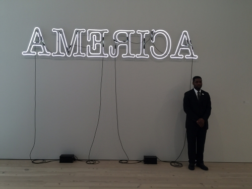 Glenn Ligon. Rückenfigur, 2009. Neon and paint, 24 × 145 1/2 × 5 in (61 × 369.6 × 12.7 cm). AP 1/2, Edition of 3. Whitney Museum of American Art, New York; Purchase, with funds from the Painting and Sculpture Committee. Courtesy of the artist and Regen Projects, Los Angeles. Photograph: Jill Spalding