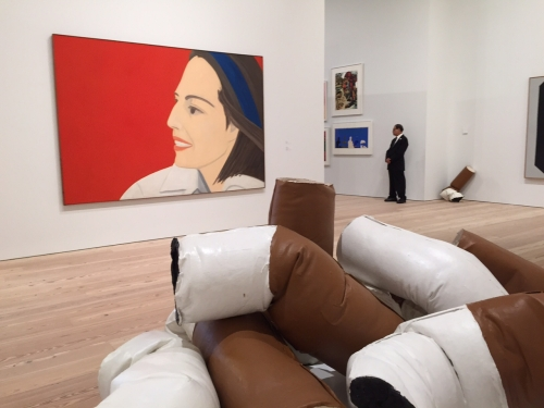 Whitney Museum. Installation view, including The Red Smile, 1963 by Alex Katz and Giant Fagends, 1967 by Claes Oldenburg. Photograph: Jill Spalding.