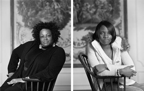 Dawoud Bey. Maxine Adams and Amelia Maxwell (from The Birmingham Project), 2012. Archival pigment prints mounted on dibond, 40 x 64 in. Copyright Dawoud Bey. Courtesy of the artist.
