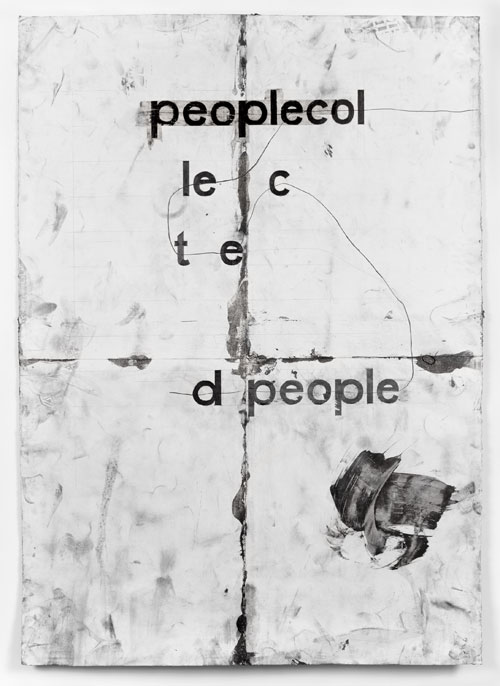 Tony Lewis. peoplecol, 2013. Pencil, graphite powder and tape on paper, 84 x 60 in. Collection of the artist. Courtesy the artist and Shane Campbell Gallery, Chicago. Photograph: Robert Chase Heishman.