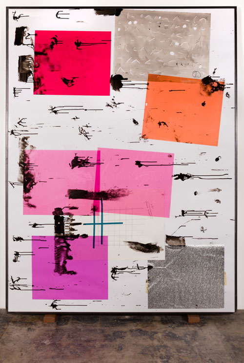 Dashiell Manley. Scene 3 Version B 2, 2013. Gouache, ink, watercolor, linen, wood, acrylic sheet, lighting gels, paper, tape, steel, 72.5 x 96.5 in. Photograph: Jeff Mclane. Image courtesy of the Artist, Redling Fine Art, and Jessica Silverman Gallery.