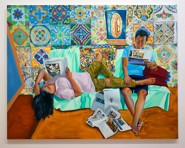 Aliza Nisenbaum. La Talaverita, Sunday Morning NY Times, 2016. Oil on linen. Photograph: Miguel Benavides.