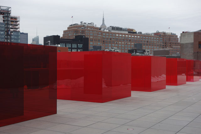 Larry Bell. Pacific Red II, 2017. Laminated glass. Collection of the artist. Photograph: Miguel Benavides.